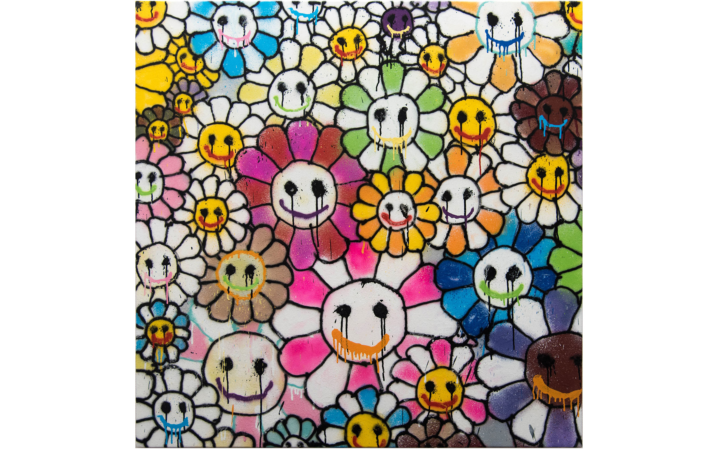 Homage to Takashi Murakami Flowers 1, 2016 1000x1000mm