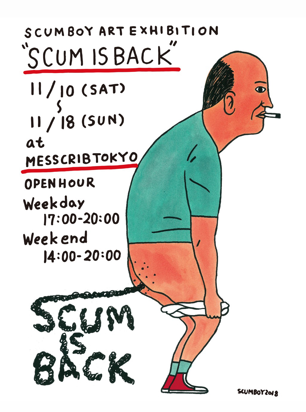 """SCUM IS BACK"" SCUMBOY ART EXHIBITION AT MESS CRIB TOKYO"